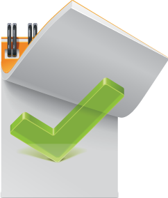 Notepad and checkmark icon to show the importance of a strong online reputation management plan