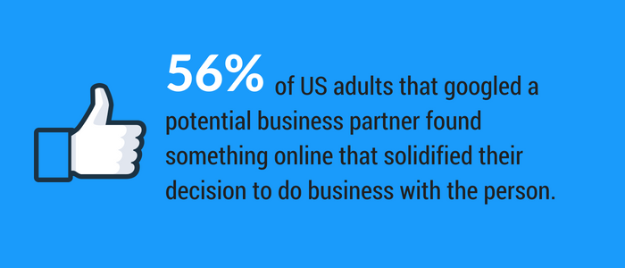 56 percent of US adults googled a potential business partner