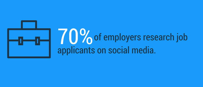 70 percent of employers monitor applicants social media accounts during the hiring process